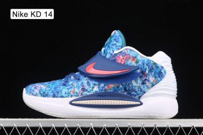 CW3935-400 Colorful Print Nike KD 14 Deep Royal Blue Pale Coral