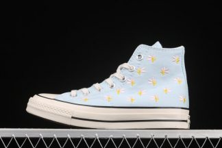 Converse Chuck 70 High Embroidered Floral Print Chambray Blue