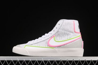 DC1746-102 Nike Blazer Mid 77 Infinite White Electric Green-Sunset Pulse