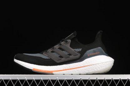 FY0389 adidas Ultraboost 21 Core Black Blue Oxide-Screaming Orange