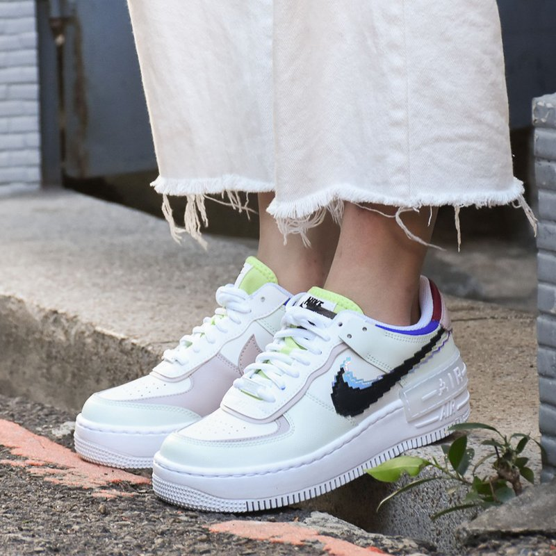 Nike Air Force 1 Shadow with Pixelated Swoosh Logos Green On Feet