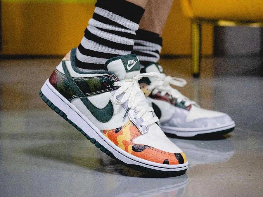 Nike Dunk Low SE Multi Camo On Feet