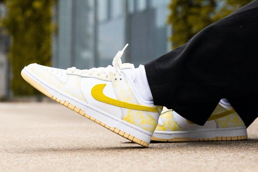 Nike Dunk Low Yellow Strike On Feet
