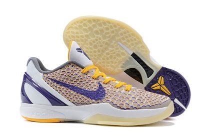 Nike Zoom Kobe 6 VI 3D Lakers White Club Purple-Del Sol
