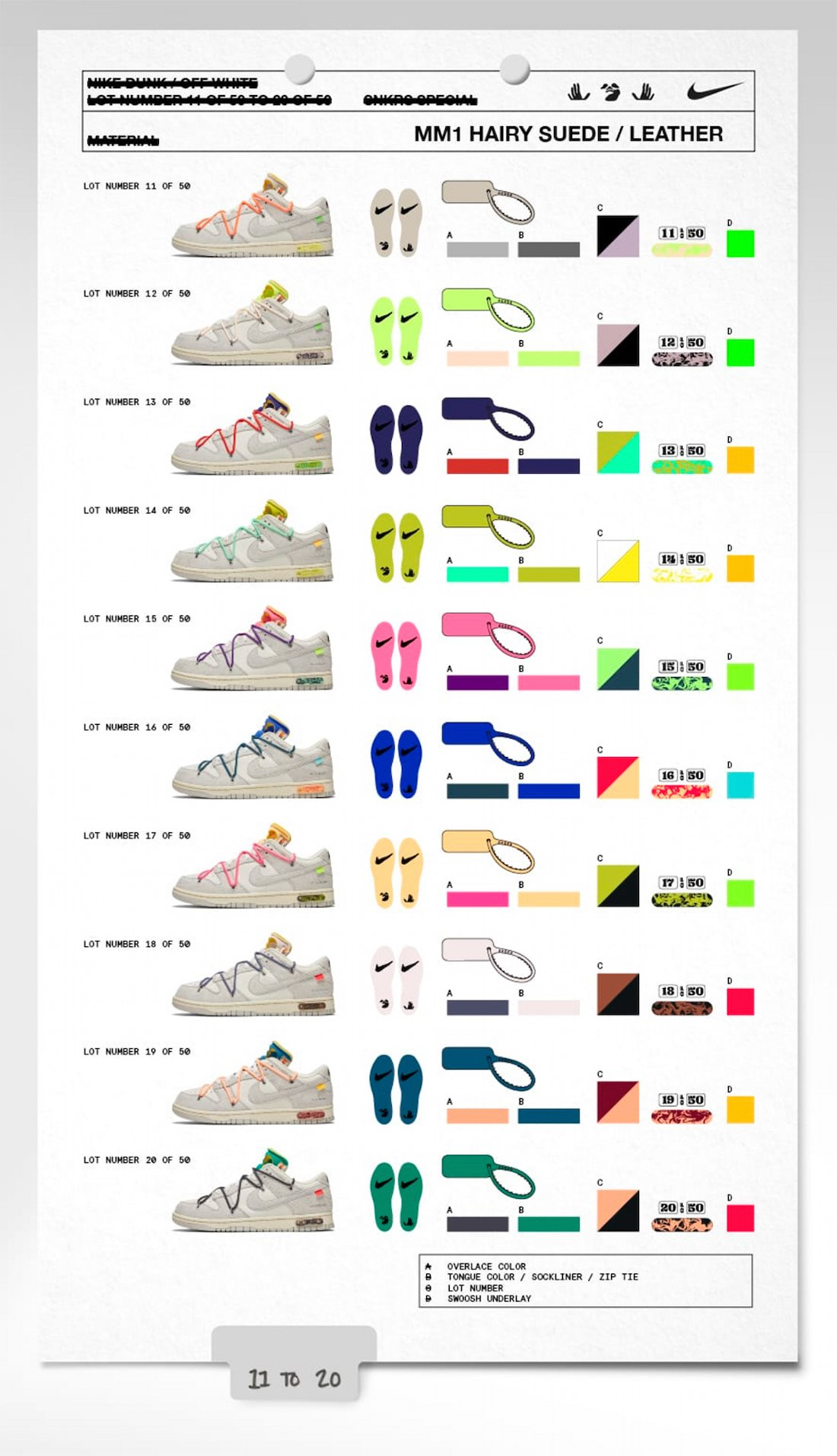 Off-White x Nike Dunk Low 11-20 Collection