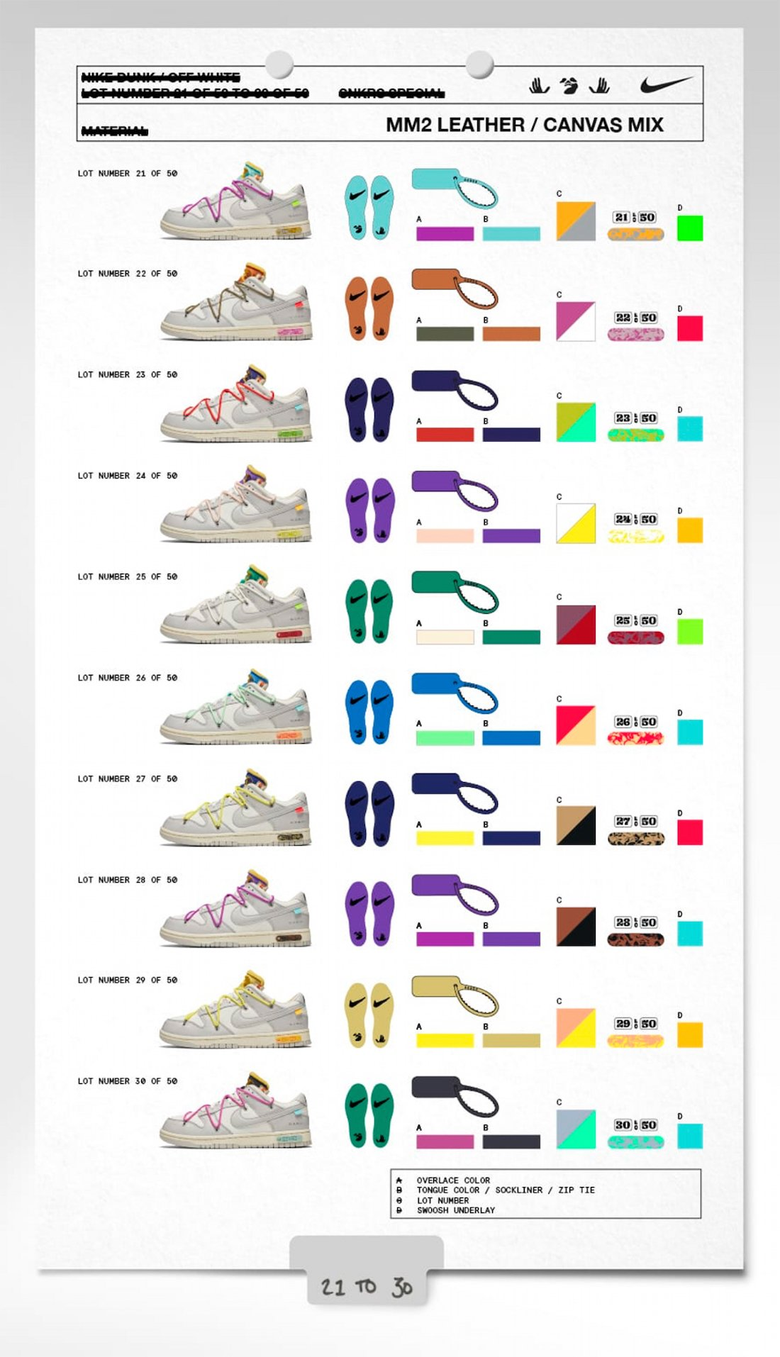 Off-White x Nike Dunk Low 21-30 Collection