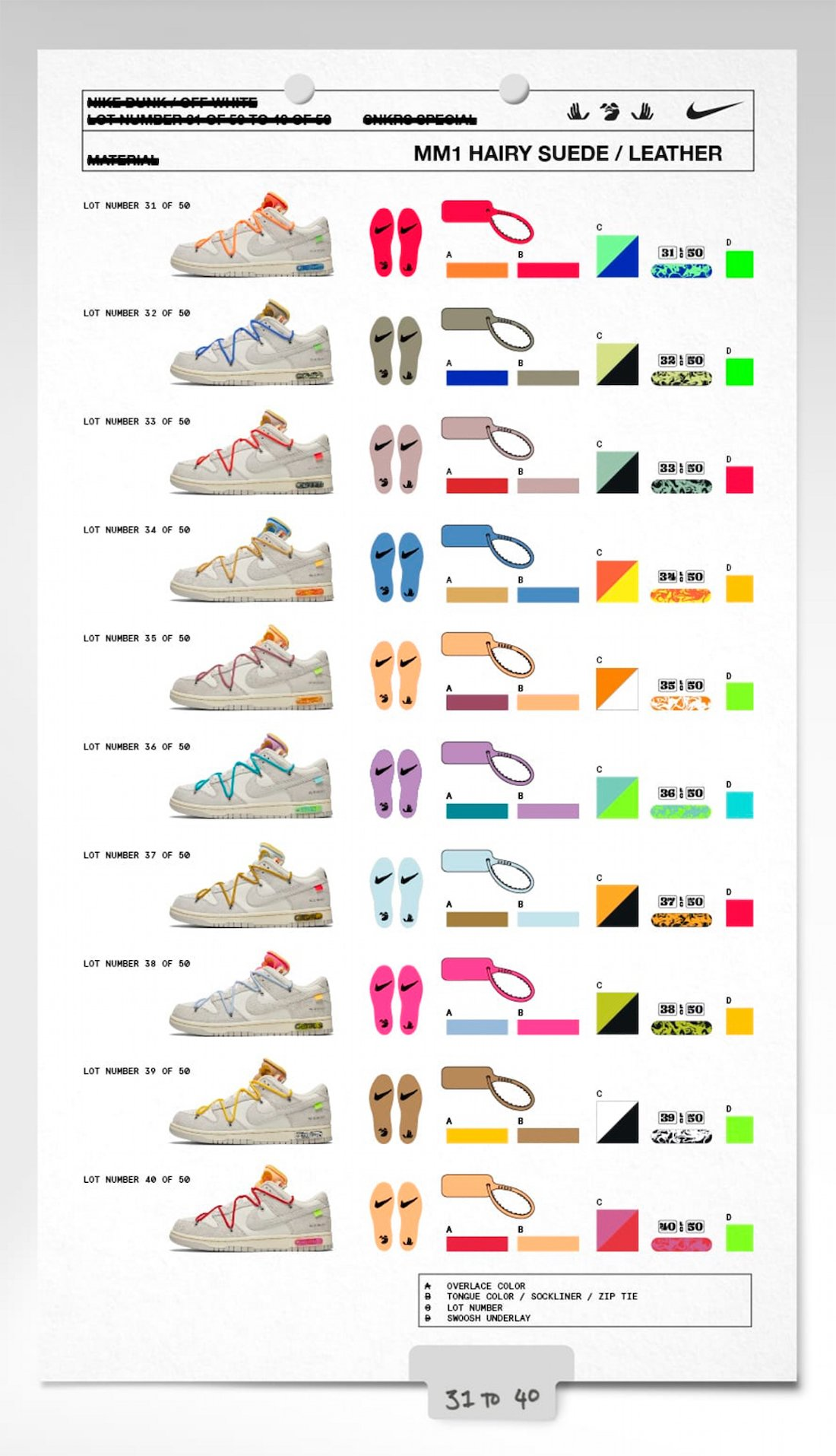 Off-White x Nike Dunk Low 31-40 Collection