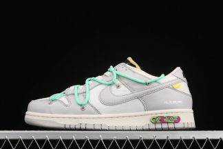 Off-White x Nike Dunk Low The 50 Grey With Teal Hiking Laces