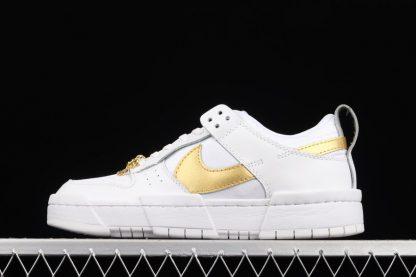 DD9676-100 White Metallic Gold Nike Dunk Low Disrupt