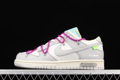 Off-White x Nike Dunk Low 21 Of 50 Grey With Hyper Violet Hiking Laces
