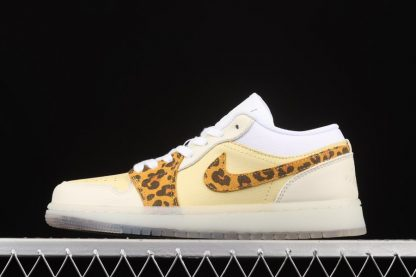 Air Jordan 1 Low SNKRS Day White Yellow Clear Leopard