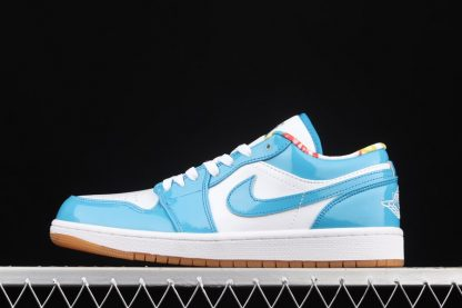 DC6991-400 White Blue Air Jordan 1 Low With Patent Leather and Gum Soles