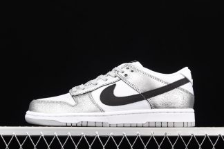DO5882-001 Nike Dunk Low Shimmer Silver Cracked Leather