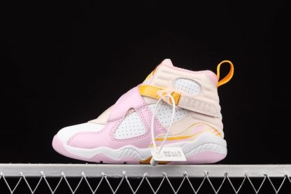 Kids Air Jordan 8 PS Orange Pearl White-University Gold-Light Arctic Pink