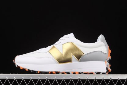 New Balance 327 White Gold With Orange Marble Rubber Sole