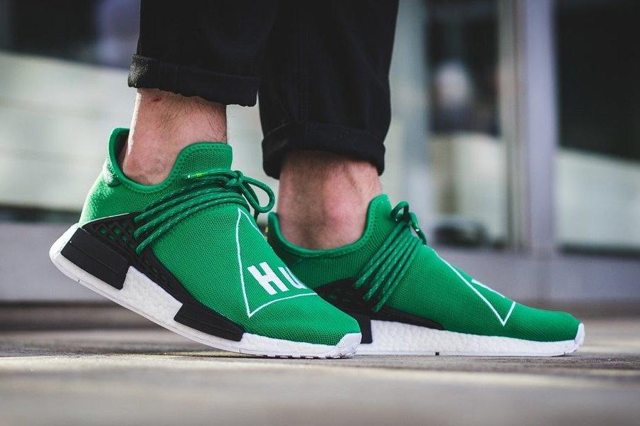 Pharrell x adidas NMD Human Race Green On Feet