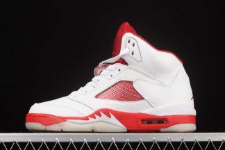 Baskets Air Jordan 5 White Pink Foam-Gym Red pas cher Homme et Femme