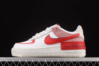 CI0919-108 Nike Air Force 1 Shadow Cracked Leather White Red