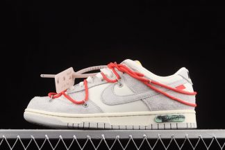 DJ0950-118 Off-White x Nike Dunk Low Lot 33 of 50 Sail Neutral Grey-Chile Red