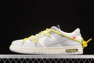 Off-White x Nike Dunk Low White Grey Yellow Lot 27 Outlet