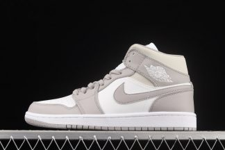 554724-082 Air Jordan 1 Mid Linen College Grey Light Bone White On Sale