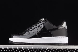 AH6827-001 Nike Air Force 1 07 Premium Black Patent Leather Reflector Silver