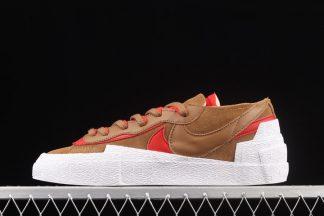 DD1877-200 sacai x Nike Blazer Low Light British Tan White-University Red