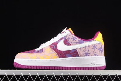 DD5516-584 Nike Air Force 1 Low Red Plum Light Arctic Pink-Wild Violet-White