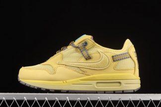 DO9392-700 Travis Scott x Nike Air Max 1 Wheat Lemon Drop-Baroque Brown-Chile Red