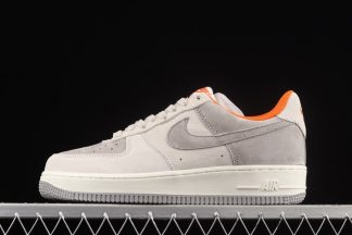 Nike Air Force 1 Low Grey Suede Orange For Sale
